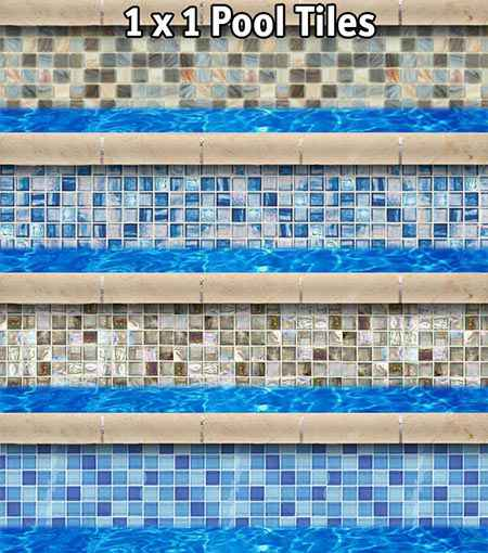 Pool tiles options in 1x1 size.
