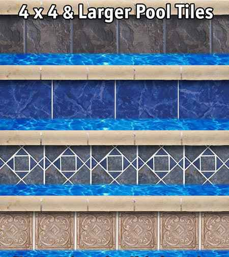 Pool tiles options in 4x4 size.