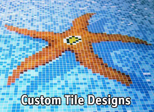 Swimming pool custom tile artistic designs.