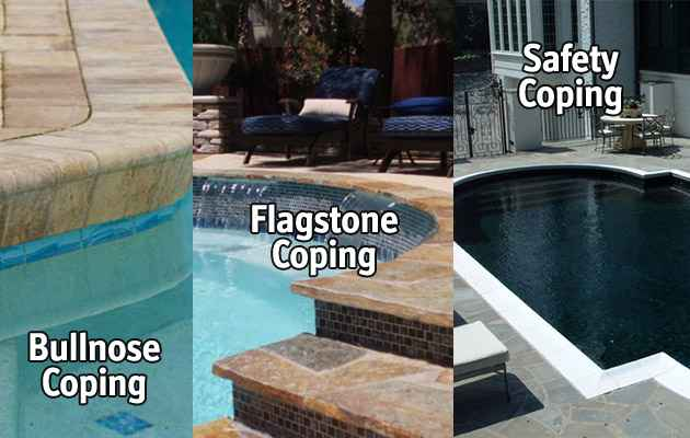 Different types of pool coping.