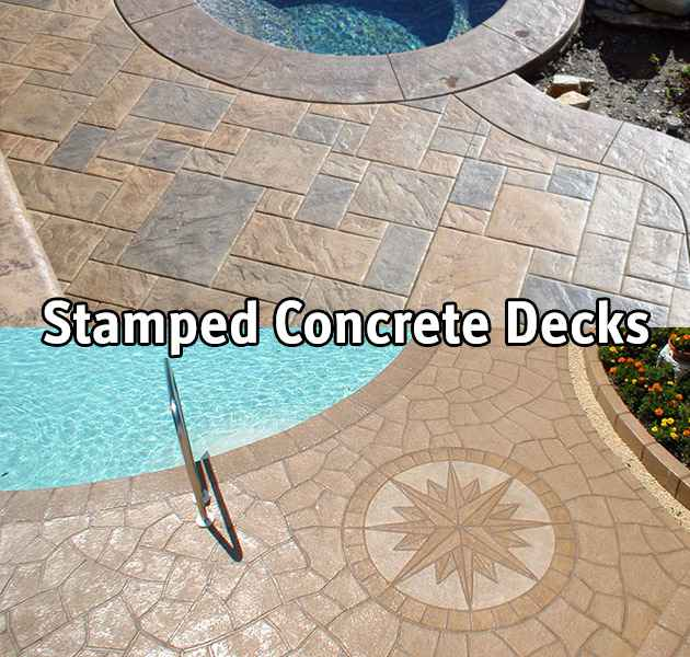 Stamped concrete decking around a swimming pool.
