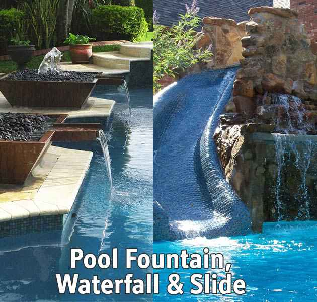Swimming pool custom water slide and fountains.