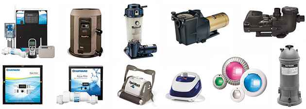 Various pool pumps and pool lighting options.